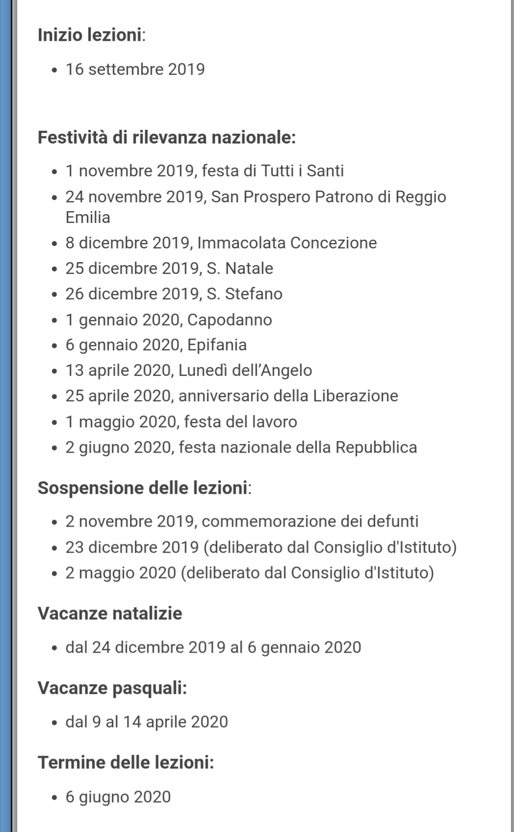 Calendario Da Settembre 2019 A Giugno 2020.Calendario 2019 2020